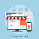 Online music store. Flat style concept for online music service, music store Stock Photo