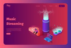 Online music streaming from the cloud. Template for website design. Online music streaming from the cloud. Wireless sound stream. Music on a computer royalty free illustration