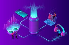 Online music streaming concept. Flat isometric vector illustration. Online music streaming concept. People listens to music on a computer, smartphone and other stock illustration