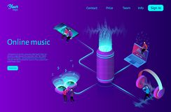 Online music streaming concept. Flat isometric vector illustration. Online music streaming concept. Wireless sound stream technology. Listens to music on a royalty free illustration