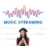 Online Muzyczny Audio Muzyczny Leje się Falowy Graficzny pojęcie fotografia royalty free