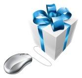 Online-närvarande gåvamusbegrepp Arkivfoto