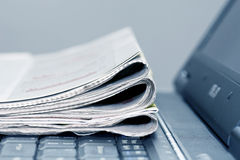 Online news. Newspapers on the laptop. Online news royalty free stock photo