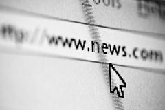 Online News. A Typed out web address for news online