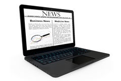 Online News concept. Modern Laptop with News on the screen Royalty Free Stock Photos