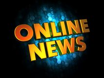 Online News - Gold 3D Words. Stock Image