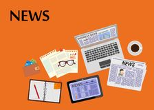 Online news. Newsletter and information. Business and market news. Financial report. Vector illustration. Online news. Newsletter and information. Business and Royalty Free Stock Image