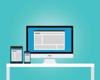 Online news newspaper responsive multi platform. Computer notebook tab pad Stock Image