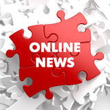 Online News on Red Puzzle. Stock Photos