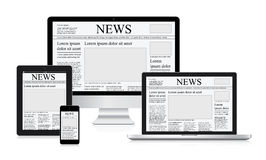 Online news vector illustration concept computer tablet newspaper Royalty Free Stock Images