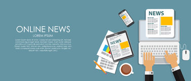 Online News Vector Illustration. Flat Computing Stock Photography