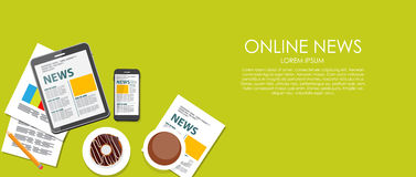 Online News Vector Illustration. Flat Computing Stock Photos