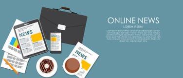 Online News Vector Illustration. Flat Computing Royalty Free Stock Photo