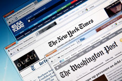 Online news web sites. Selection of the major American online newspaper web sites