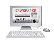 Online newspaper.Computer and news website Royalty Free Stock Photo