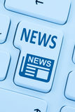 Online newspaper news blue computer web Royalty Free Stock Photo