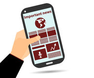 Online Newspaper. Smartphone in hand. Important news. Read the news on the smartphone or tablet Stock Image