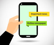Online Newspaper. Smartphone in hand. Important news. Tablet PC. Stock Photo