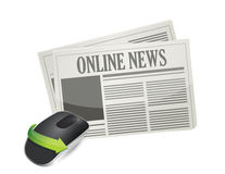 Online newspaper and Wireless computer mouse Royalty Free Stock Photos