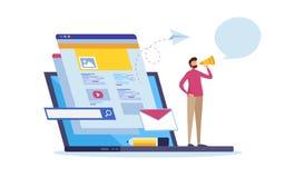 Online-nyheterna, information om webbsida, socialt massmedia Multimediakommunikation Uppdateringinnehåll stock illustrationer