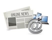 Online-nyheterna och elektroniska hjälpmedel Fotografering för Bildbyråer