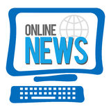 Online-nyheternaskärm Arkivbilder