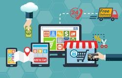 Online a O2O offline Infographic di compera Fotografie Stock