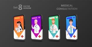 Online-octor på smartphoneskärmen vektor illustrationer