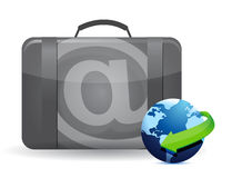Online office business suitcase illustration Stock Photos
