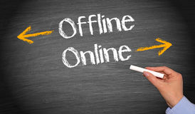 Online and Offline - Business Concept. Female hand with chalk writing text stock images