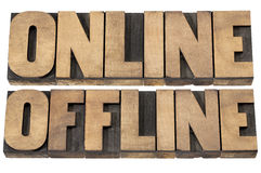 Online and offline words Royalty Free Stock Photography