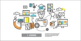 Online Onderwijs E-leert vector illustratie