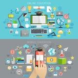 Online Onderwijs en Mobiele cursussenconcepten royalty-vrije illustratie