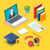 Online onderwijs en studieconcept Vector 3d isometrische pictogrammen van en Internet die leren opleiden Royalty-vrije Stock Afbeeldingen