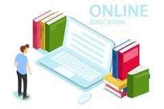 Online Onderwijs Het concept online onderwijs, opleiding, cursussen Een mens bekijkt laptop stock illustratie