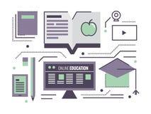 Online Onderwijs het leren op Internet stock illustratie