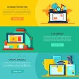 Online Onderwijs Horizontale Banners Stock Foto