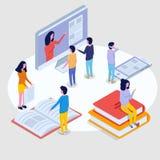 Online onderwijs isometrisch concept, trainingscursussen 3d isometrische mensen Stock Afbeeldingen