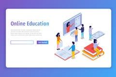 Online onderwijs isometrisch concept, trainingscursussen 3d isometrische mensen Royalty-vrije Stock Afbeelding