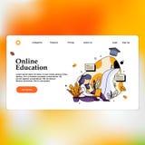 Online Onderwijs voor website en mobiele website Landend Paginamalplaatje stock illustratie