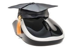 Online onderwijsconcept, computermuis met graduatie GLB 3d Stock Foto's