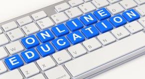 Online onderwijsconcept met computertoetsenbord Stock Fotografie