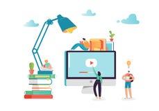 Online Onderwijsconcept met Studentenkarakters die op Webinar leren De Bibliotheekgraduatie van e-lerende Technologieinternet royalty-vrije illustratie