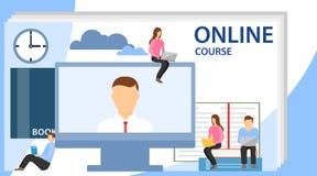 Online onderwijsconcept met tekstplaats Onlinetraining, workshops en cursussen De kleine mensen bekijken het scherm vector illustratie