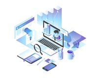 Online onderwijsconcept Online trainingscursussen, specialisatie, leerprogramma's, lezingen 3d isometrisch ontwerp Stock Afbeeldingen