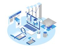 Online onderwijsconcept Online trainingscursussen, specialisatie, leerprogramma's, lezingen 3d isometrisch ontwerp Royalty-vrije Stock Afbeelding