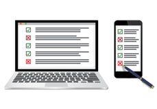 Online onderzoek of de vectorillustratie van het controlelijstconcept vector illustratie