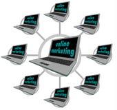 Online Op de markt brengend - Aangesloten Computers Stock Foto