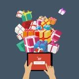 Online opdracht gevend Kerstmis tot giften Stock Fotografie