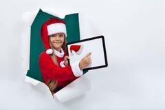 Online openend het vakantieseizoen - meisje met tabletcom Royalty-vrije Stock Foto